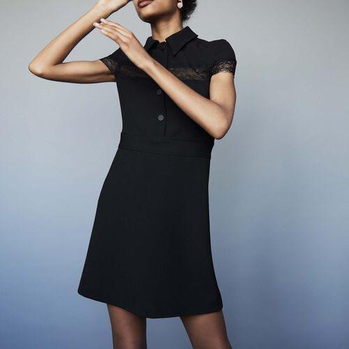 Robe-chemise en crêpe : Robes couleur Black