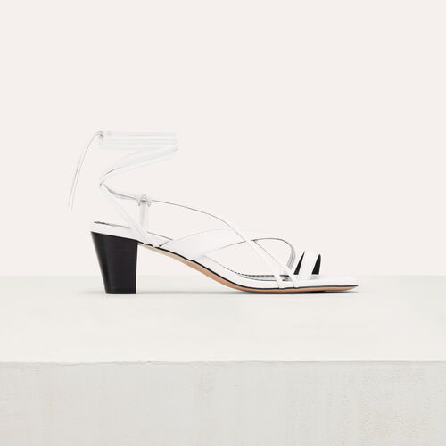 Leather sandals with tie-up ankle lace : New Collection color White