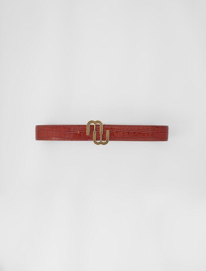 Croc-effect leather double M belt - Ready to wear - MAJE