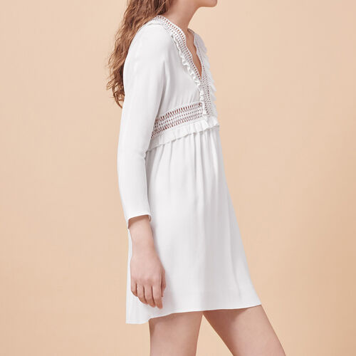 Crêpe dress with openwork details : Dresses color Ecru