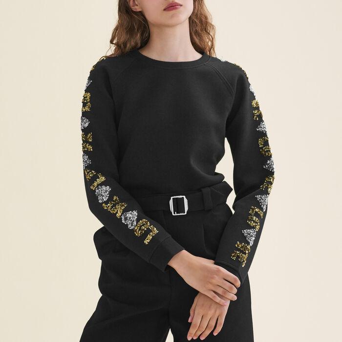 Sweat-shirt avec sequins : null couleur Black