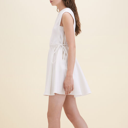 Crêpe sleeveless dress : Dresses color WHITE