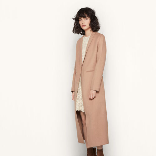 Long double-sided wool coat : Coats color Camel