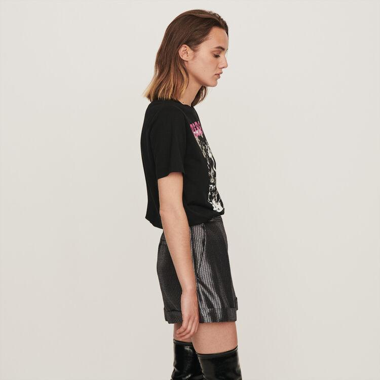 Short en Lurex avec revers : Jupes & Shorts couleur Argent