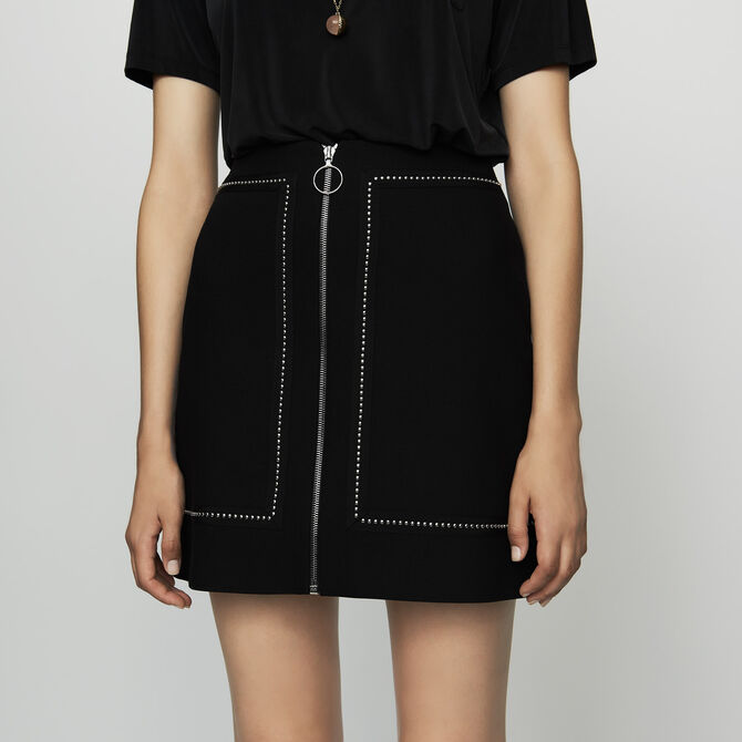 Short crepe skirt with studs - See all - MAJE