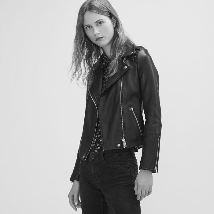 Blouson en cuir avec détail tressé : Blousons & Vestes couleur Black