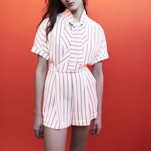 Draped striped romper : Jumpsuits color Stripe