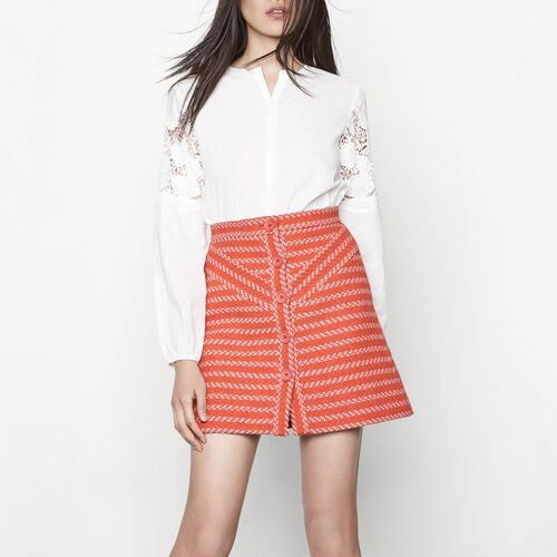 Short buttoned jacquard skirt : Skirts & Shorts color Terracota Tiles
