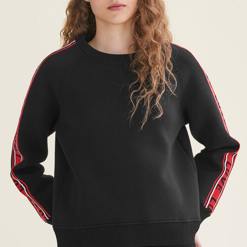 Neoprene sweatshirt with bands - Knitwear - MAJE