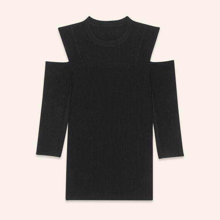 Pull en maille à épaules dénudées : Maille couleur Black