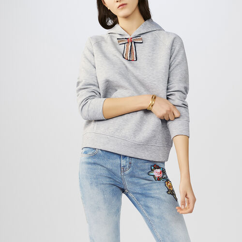 Hooded sweatshirt with removable bow : Knitwear color Grey