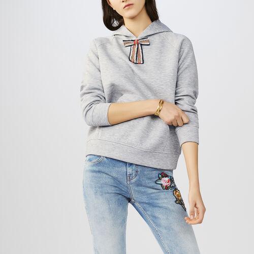 Sweat-shirt à capuche avec nœud amovible : Sweats couleur Gris