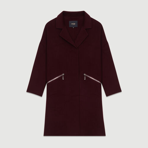 Manteau en laine double face : Manteaux couleur BORDEAUX