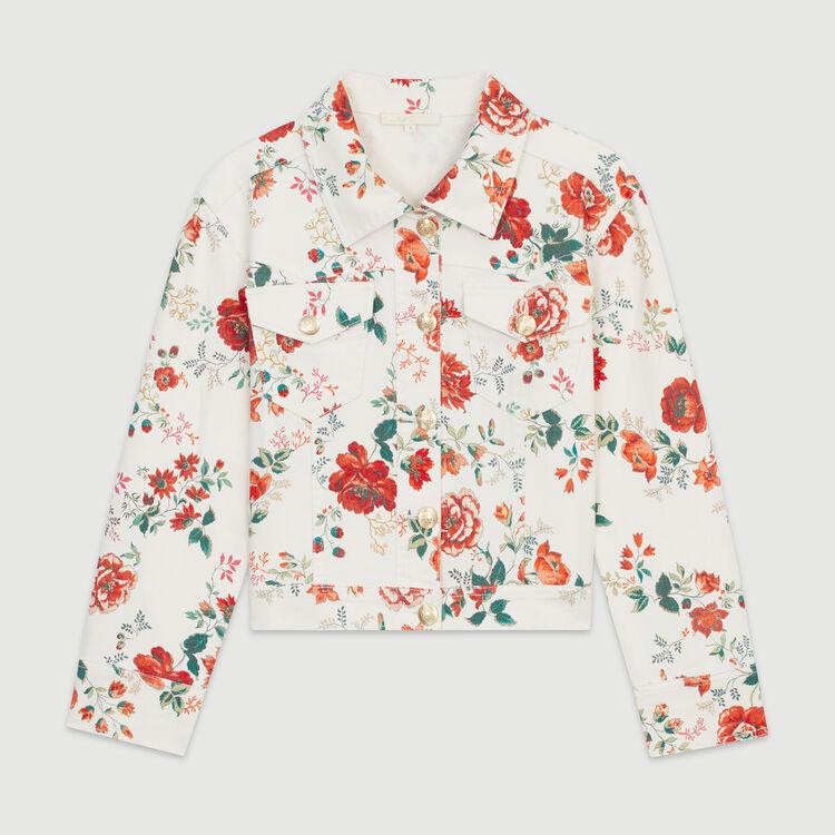 Denim jacket with floral print : Blazers color Printed