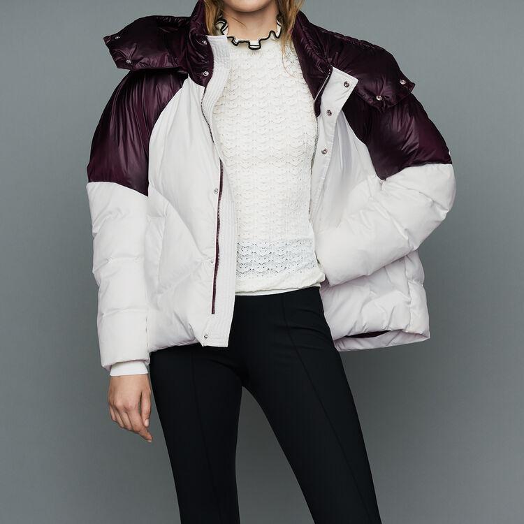 Doudoune courte bicolore : Prêt-à-porter couleur Blanc