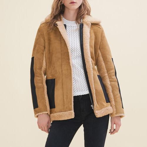 Manteau en peau lainée retournée : Manteaux & Blousons couleur Caramel