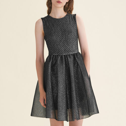 Tulle and Lurex sleeveless dress : Dresses color Silver