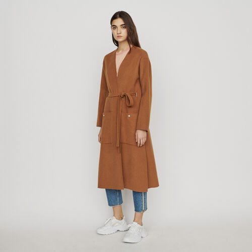 Manteau long en laine double face : Manteaux couleur Caramel