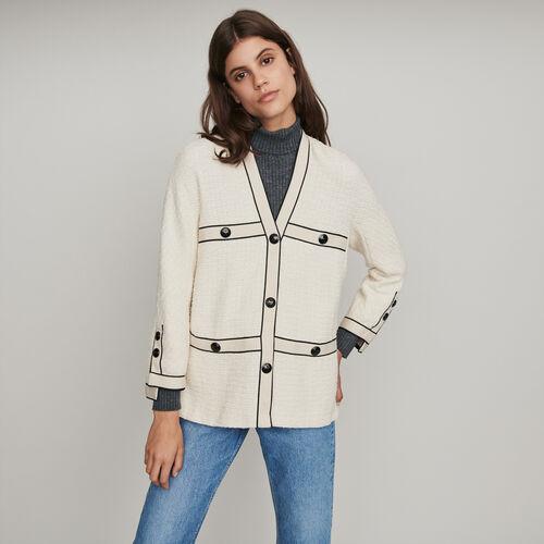 Tweed-style contrast jacket : Winter collection color Ecru