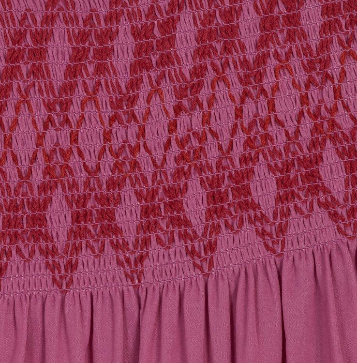 Top à smocks avec épaules dénudées : Tops couleur Fushia