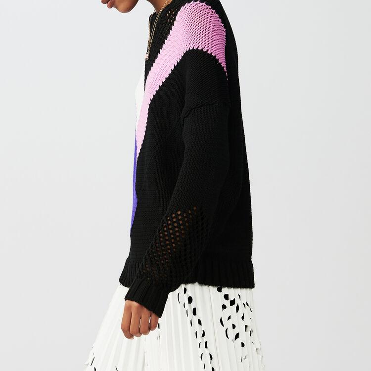 Pull oversize avec détails colorés : Maille couleur Black