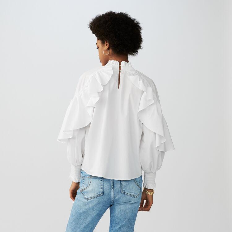Blouse volantée en popeline de coton : Tops couleur Blanc