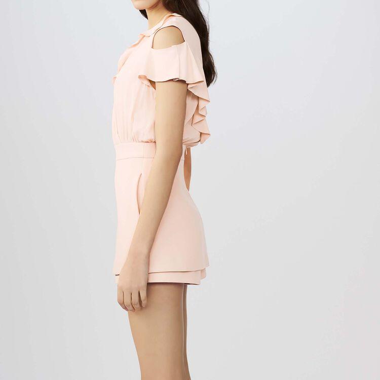 Combi-short en crêpe et soie : Jupes & Shorts couleur Rose