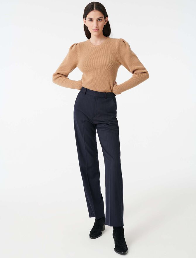 Wool sweater with balloon sleeves - Pullovers & Cardigans - MAJE