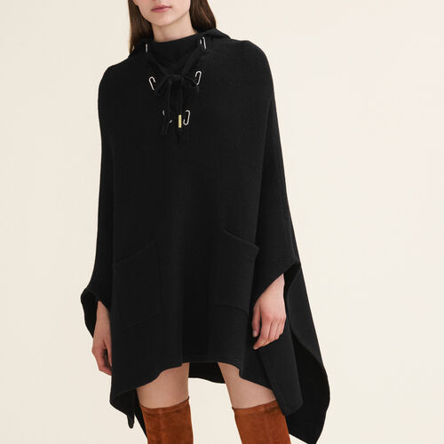 Tube-knit poncho cape : Sweaters & Cardigans color Black 210
