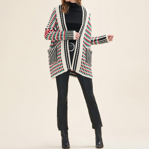 Long multi-coloured knit cardigan : See all color Multico
