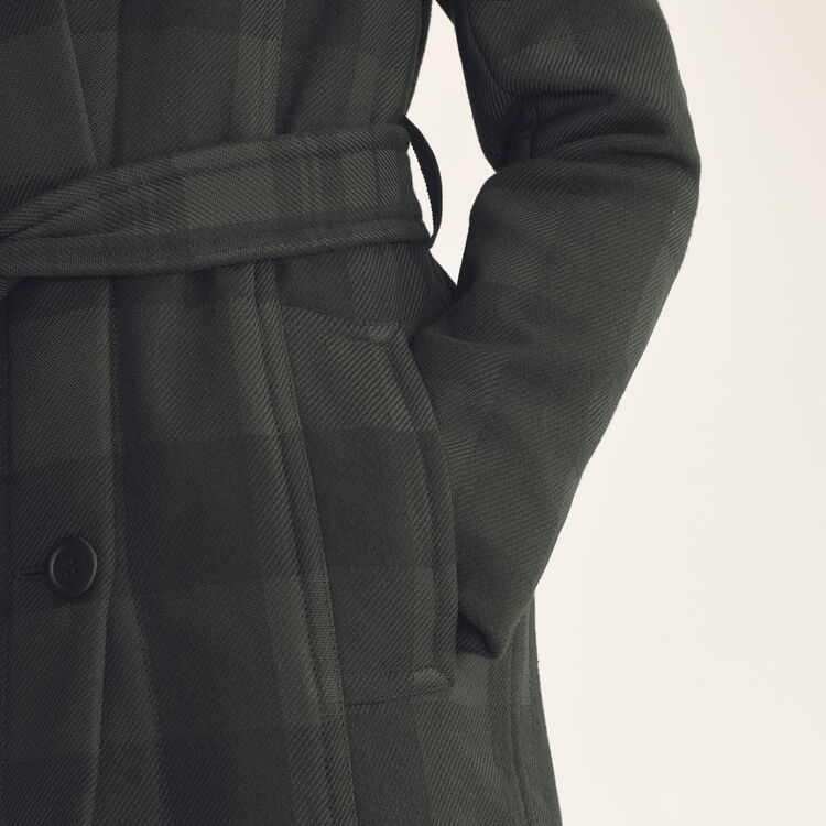 Manteau long à carreaux : Manteaux couleur Jacquard