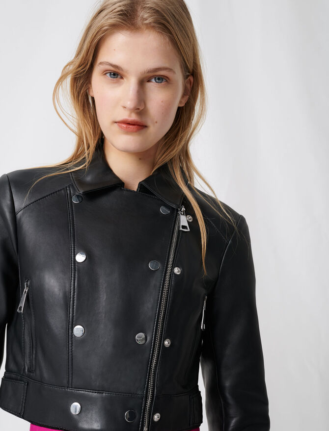 Short leather jacket with asymmetric zip - Coats & Jackets - MAJE