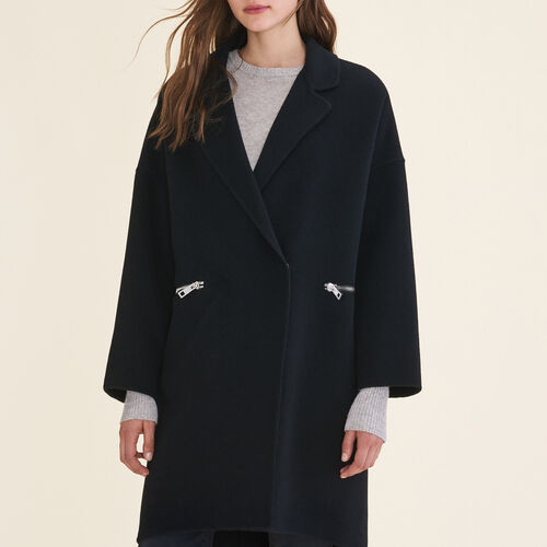 Manteau en laine double face : Manteaux couleur Black