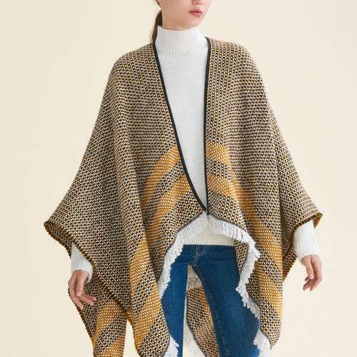 Decorative two-tone knit poncho : Accessoires color Pink