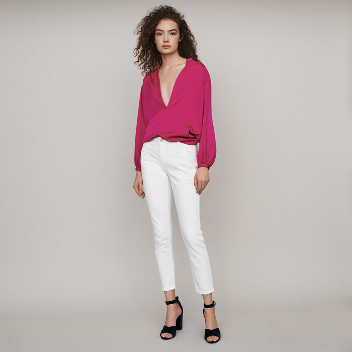 Straight-cut ripped jeans with pockets : Winter collection color White