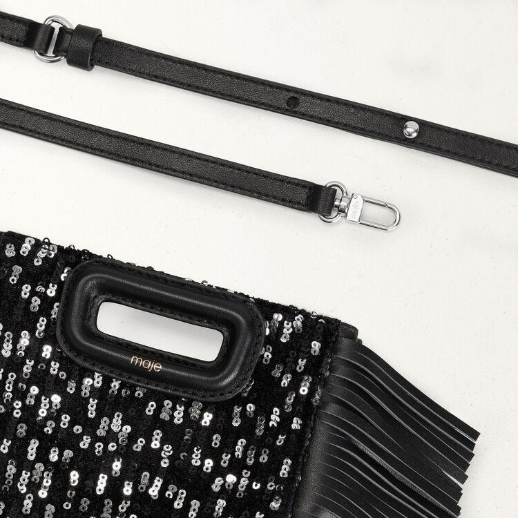 Sac M Mini en sequins et cuir : M Mini couleur BLACK
