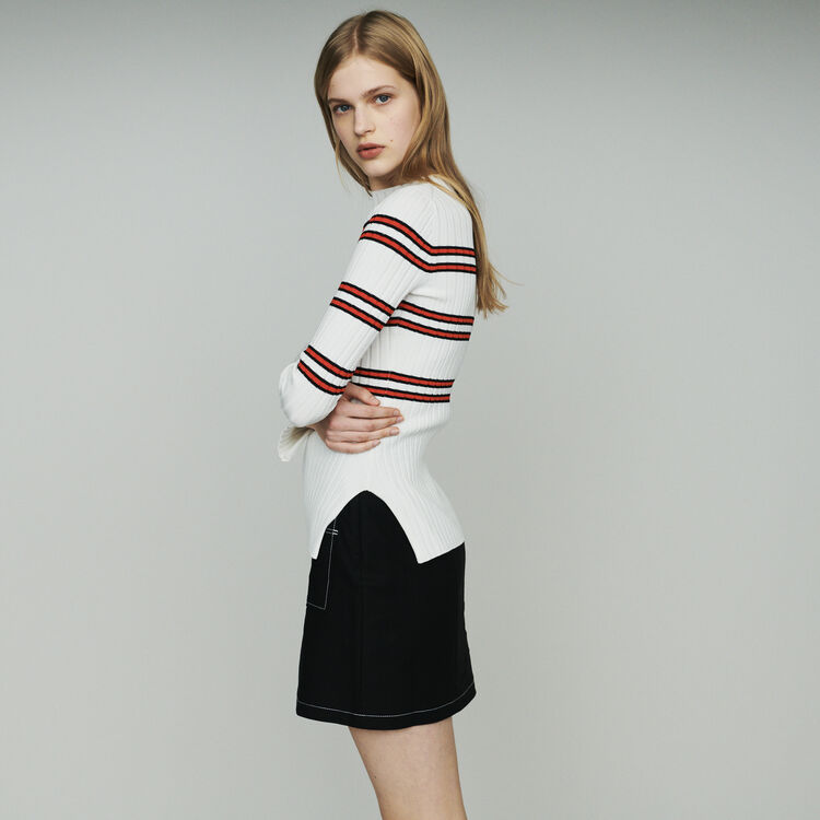 Thin sweater in striped tube knit : Pullovers & Cardigans color Stripe