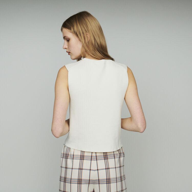 Pull sans manchesen coton mélangé : Maille couleur ECRU