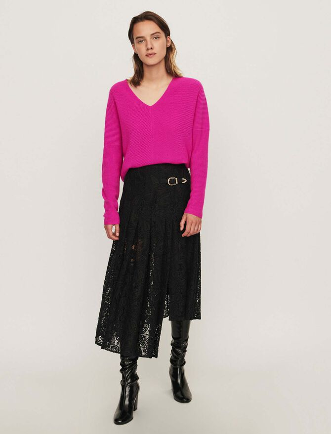 Guipure skirt with cashmere detail -  - MAJE