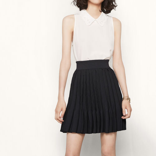 Sunray pleated knit skirt : Skirts & Shorts color Black 210
