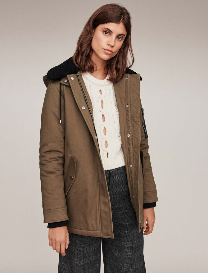 Shearling parka with collar - Jackets & Blazers - MAJE