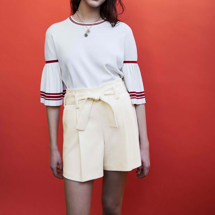 Short taille haute en crêpe : Jupes & Shorts couleur Blanc