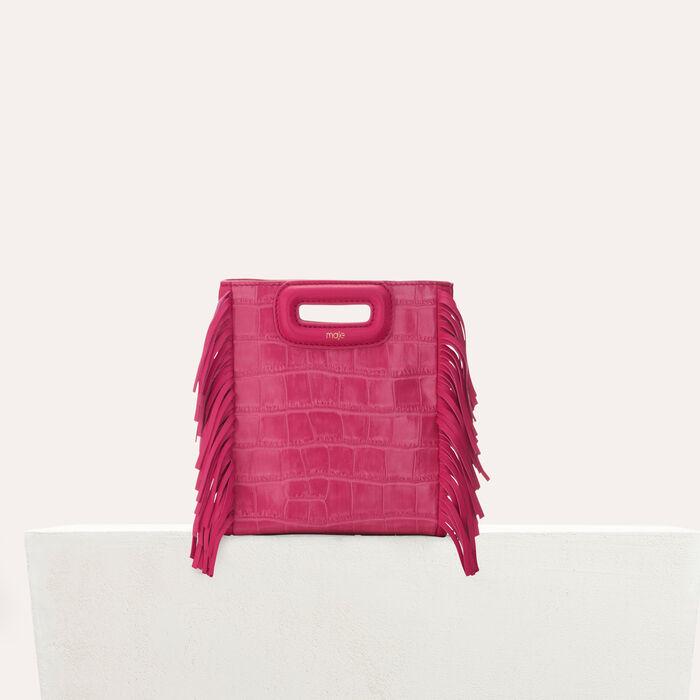 Sac M Mini en cuir embossé crocodile : Cuir couleur ROSE