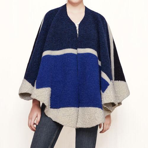 Poncho en laine : Accessoires couleur Bleu