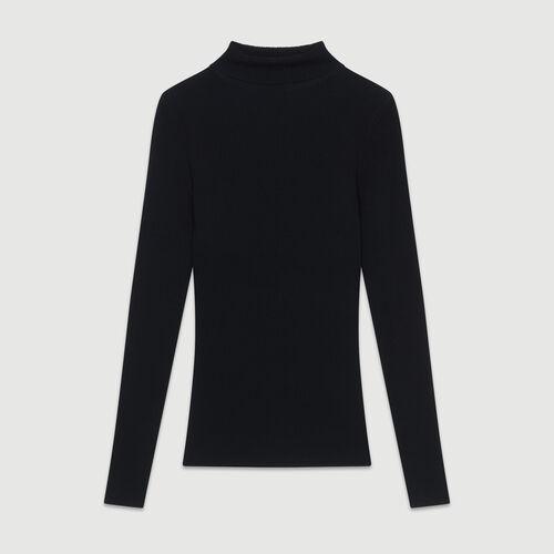 Pull à col roulé : Maille couleur BLACK