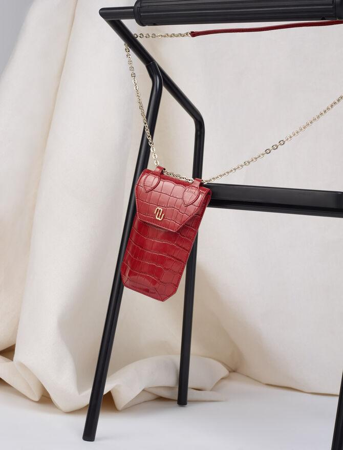 Porte-téléphone en cuir embossé -  - MAJE