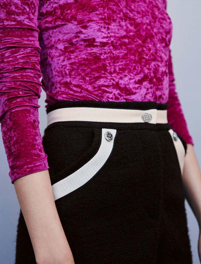 Short façon tweed à bandes contrastées - Jupes & Shorts - MAJE