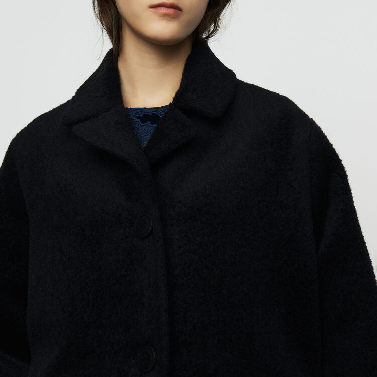 Manteau long en alpaga : Manteaux couleur Marine