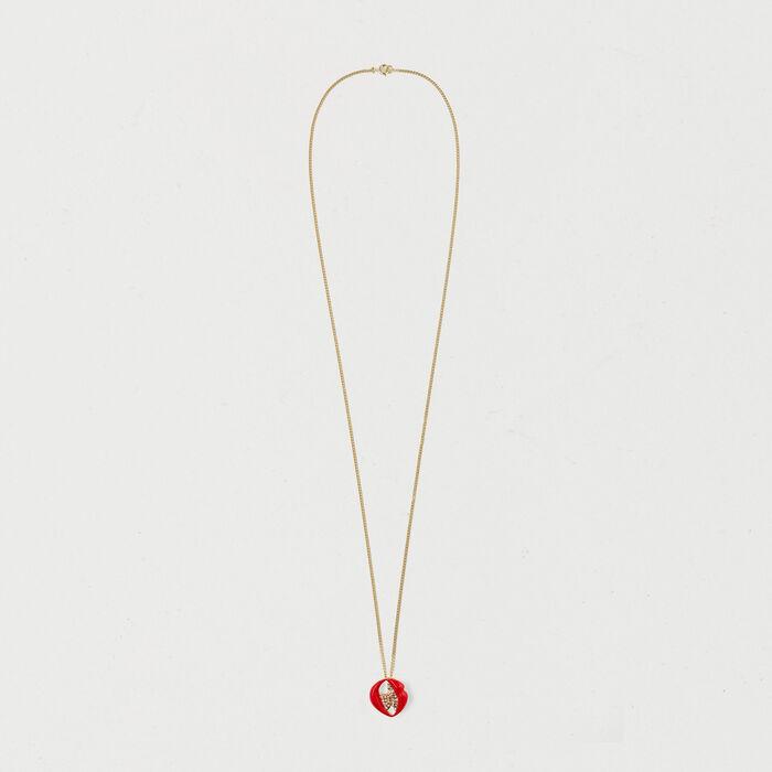 Collier avec médaillon bouche : Bijoux couleur OR