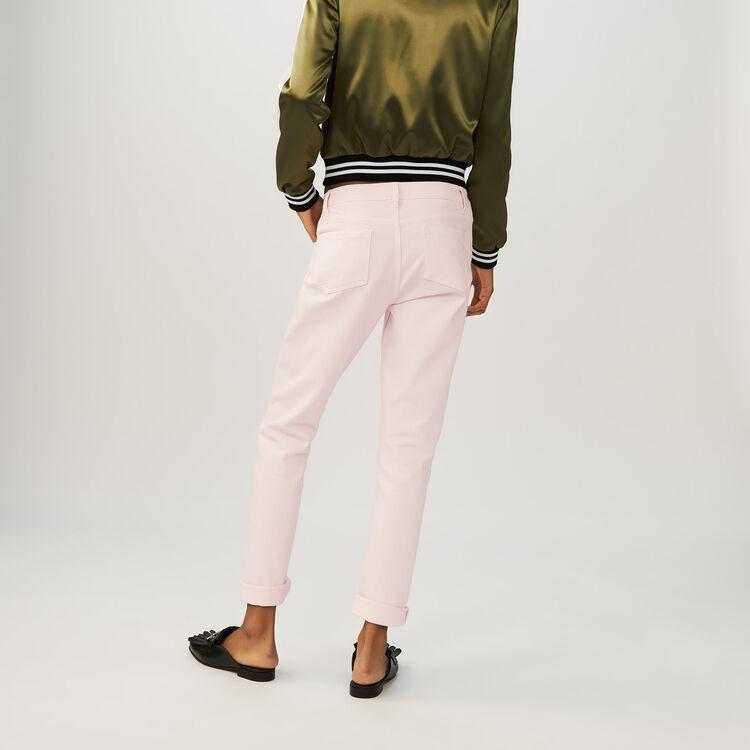 Jeans boyfriend avec broderies : Jeans couleur Rose